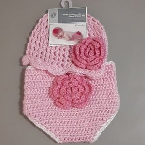 Hand crocheted hat and diaper cover set
